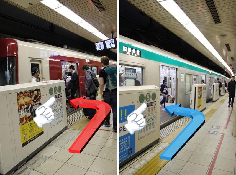市営地下鉄京都駅での乗車位置